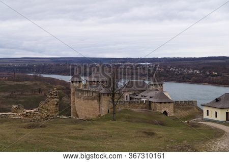View Of The Ancient Fortress In The City Of Khotyn And The Dniester River In Winter, Ukraine
