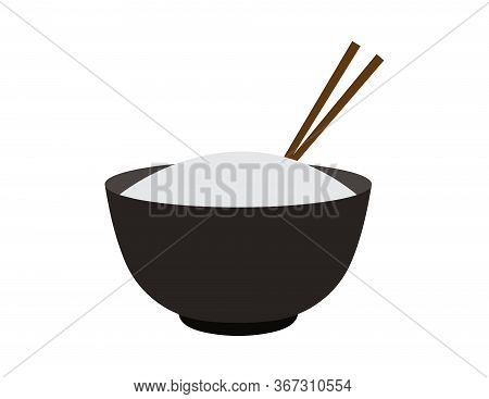 Rice Bowl Vector Isolated On White Background. Rice Bowl Illustration