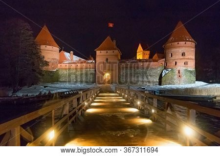 Trakai, Lithuania - December 26, 2018: Night View Of The Trakai Castle In Lithuania, On An Island In