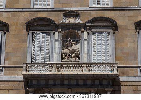 Barcelona, Spain - May 15, 2017: Exterior Details Of The Palau De La Generalitat De Catalunya. Is A