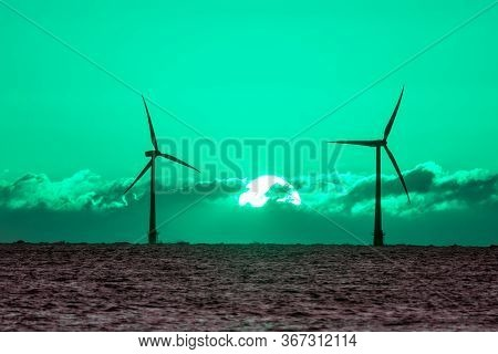 Green Energy. Wind And Solar Power Fighting Global Warming. Sustainable Resources. Beautiful Toned S
