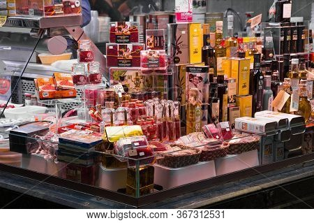 Barcelona, Spain - May 16, 2017: Sale Of Different Food Souvenirs And Gifts On The Famous La Boqueri