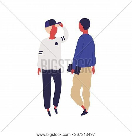 Hipster Man In Cap Talk With Student Friend Hold Book Vector Flat Illustration. Two Cartoon Male Enj