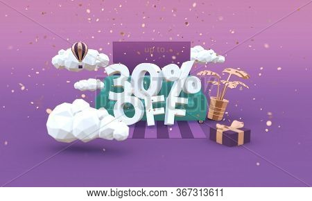 30 Thirty Percent Off 3d-illustration In Cartoon Style. Clearance, Sale, Discount Concept.