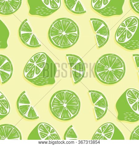 Fruit Seamless Pattern, Lime Halves And Slices With Shadow On Bright Yellow Background. Summer Vibra