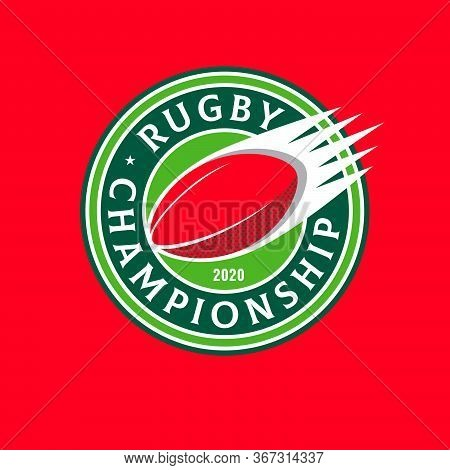 Rugby Championship Emblem. Ball In The Circle With Letters. Rugby Ball Like Comet.