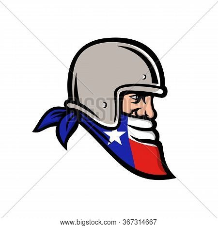 Mascot Icon Illustration Of Head Of A Texan Bandit, Outlaw Biker Wearing Bandana Or Bandanna And Mot
