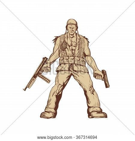 Drawing Sketch Style Illustration Of A World War Two American Gi Soldier With Thompson Submachine Gu