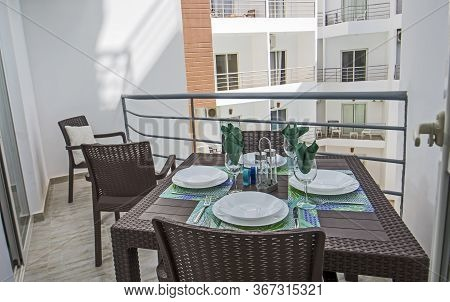 Terrace Furniture Of A Luxury Apartment In Tropical Resort With Plastic Dining Table Furniture