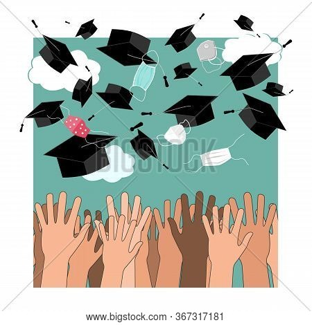 Funny Graduation Vector Background With Hands, And Bonnets And Medical Masks In The Air. Flying Mask
