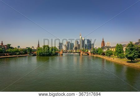 The View From Holbeinsteg To The Center Of Frankfurt