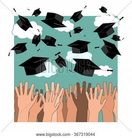 University Graduation Ceremony Flat Illustration. Higher Education, Bachelor, Master Degree. Multicu