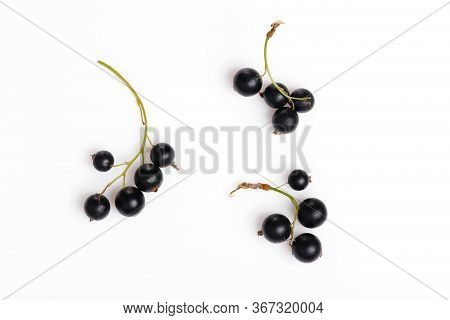 Black Currant And Leaves Isolated. Flat Lay, Top View