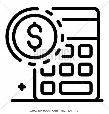 Estimator Calculator Icon. Outline Estimator Calculator Vector Icon For Web Design Isolated On White