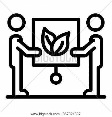 Ecologist Banner Presentation Icon. Outline Ecologist Banner Presentation Vector Icon For Web Design