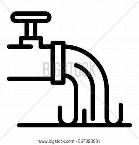 Biohazard Water Evacuation Pipe Icon. Outline Biohazard Water Evacuation Pipe Vector Icon For Web De