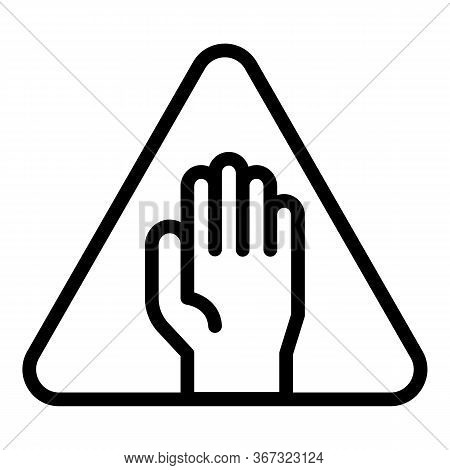 Biohazard Hand Sign Icon. Outline Biohazard Hand Sign Vector Icon For Web Design Isolated On White B