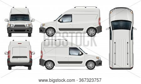 Mini Cargo Van Vector Mockup For Vehicle Branding, Advertising, Corporate Identity. View From Side,