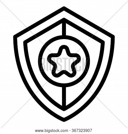 Investigator Shield Icon. Outline Investigator Shield Vector Icon For Web Design Isolated On White B