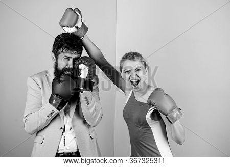 Happy After Fight. Problems In Relationship. Sport. Bearded Man Hipster Fighting With Woman. Strengt
