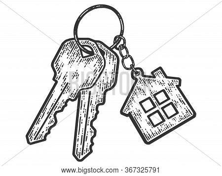 Bunch Of Keys With A Keychain House. Sketch Scratch Board Imitation.