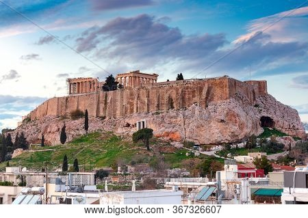 Ancient Greek Temple Parthenon On The Acropolis Hill In The Early Morning. Athens. Greece.