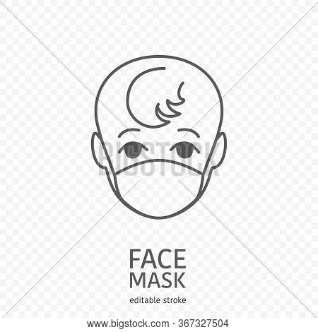 Baby Wearing Facial Protective Mask. Anti Coronavirus Or Disease Concept. Editable Icon. Premium Des