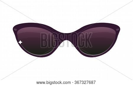 Cartoon Sunglasses With A Little Sparkle Isolated On White Background. Premium Vector.