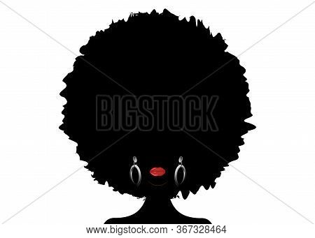 Portrait African Woman Silhouette, Dark Skin Female Face With Afro Curly Hair And Ethnic Traditional