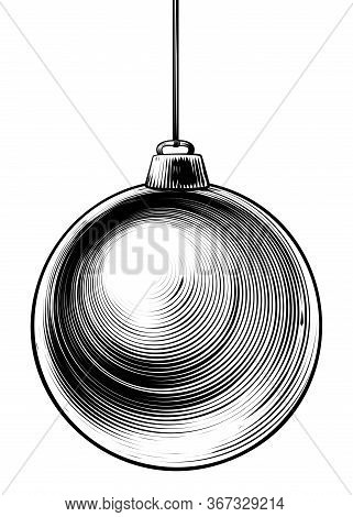 Christmas Bauble In A Vintage Woodcut Engraved Etching Style
