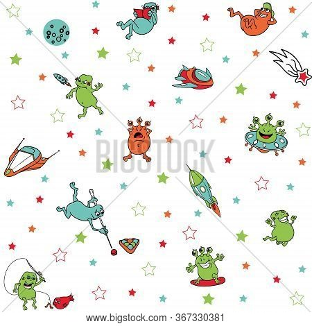 Cute Funny Colored Aliens In Space With Rockets, Spaceships, Isolated, Vector Seamless Pattern. Alie