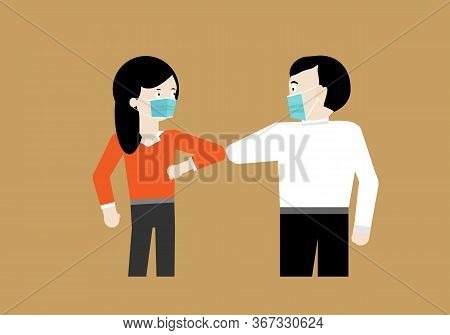 People Weraing Protective Mask Greeting By Using Elbow Bump Not Shaking Hand In Coronavirus Pandemic