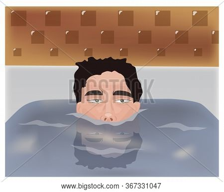 Cartoon Of A Young Man Sunken In Bathtub. Water Reflection
