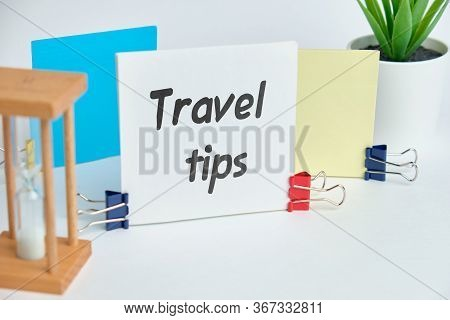 Hand Lettering Travel Tips On A Stick. Close Up.