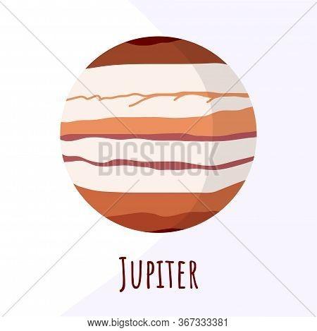 Jupiter Planet For Logo, Outer Space, Symbol. Transparent Shadow And Lettering.