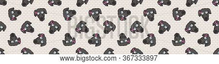 Hand Drawn Cute Greyhound Puppy With Pink Bow Seamless Vector Pattern. Purebred Pedigree Fast Dog Do