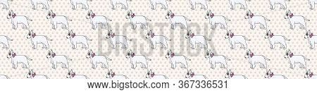 Hand Drawn Cute Bull Terrier Dog With Pink Bow Seamless Vector Border. Purebred Pedigree Show Dog Pu