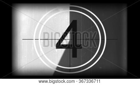 3d Rendering Of A Monochrome Universal Countdown Film Leader. Countdown Clock From 10 To 0. Effect O
