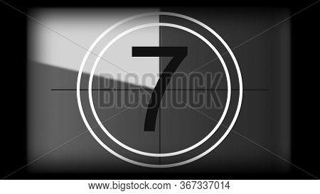 3d Rendering Of A Monochrome Universal Countdown Film Leader. Countdown Clock From 10 To 0. Design E
