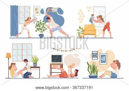 Happy Young Men And Women Doing Sport At Home Vector Flat Illustration. Fitness Workout In The Livin