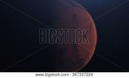 3d Rendering Of The Martian Orbit. Mars In Space With Illuminated Craters And Martian Mountains. Ele