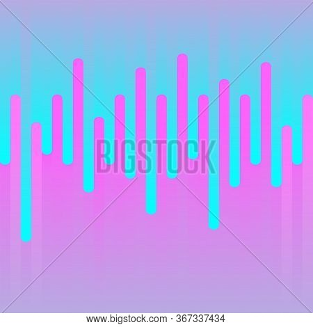 Rounded Lines Seamless Pattern. Pink And Blue Gradient Parallel Lines. Dynamic Abstract Geometric Sh