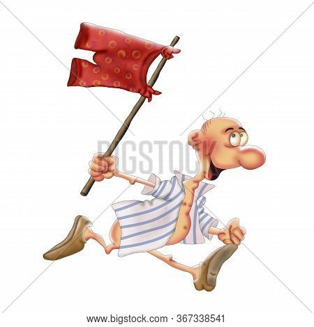 A Man Without Pants Is Running With An Impromptu Flag. Caricature Illustration On A White Background