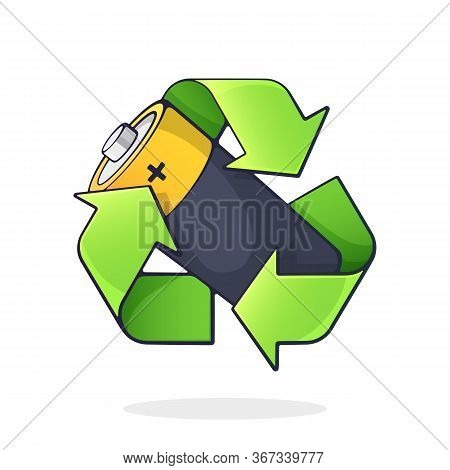 Green Recycling Symbol With Used Alkaline Battery Inside. Problems Of Waste Processing, Ecology And