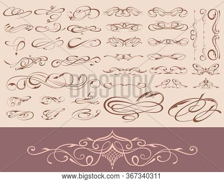 Ornate Frame Elements. Vintage And Filigree Decoration Scroll Swirls Element. Vector Illustration