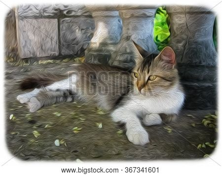 A Resting Proud Cat Against The Background Of Balusters. Colorful Digital Oil Painting. Art Stylizat