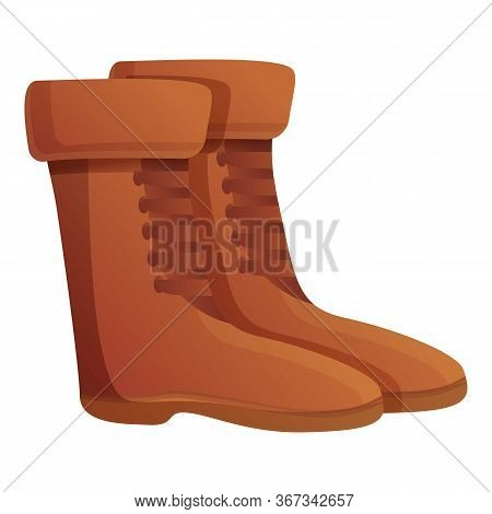 Safari Travel Boots Icon. Cartoon Of Safari Travel Boots Vector Icon For Web Design Isolated On Whit