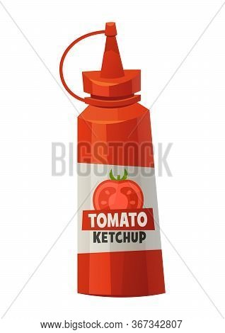Ketchup Bottle Isolated On White Background Tomato Sauce Vector
