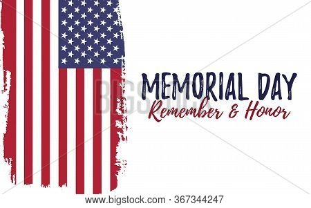 Template Banner For Memorial Day. Celebration Background With Usa Brush Paint Flag. Remember And Hon