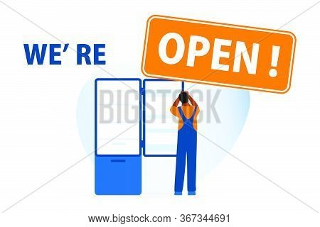 Vector Illustration Opening Of Services For Repair Of Household Appliances, Electrical Appliances Af